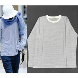 aee5dd7456d 18ss Blue Striped Long Sleeve Tee Men Loose Fit Drop Shoulder O-neck T-shirt  Free Shipping