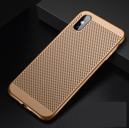 Wholesale Full Cover Matte Slim Hard PC Mesh Breathing Case for iPhone X XS XR XS MAX Galaxy S10 S10 PLUS S10E Grid Hollow Out Shell