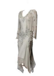 Дешевые Новейшие линии V-образным вырезом чайной длины сиреневый шампанское шифон Appliques Sheer длинным рукавом куртка плюс размер Мать невесты платья