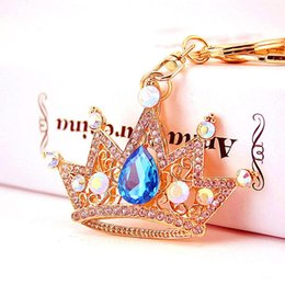 Wholesale Luxury Crystal Crown Keychain Jewelry Gold Metal Rhinestone Keychains Keyring For Women Party Gift Bag Key Chain Ring