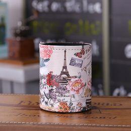 $enCountryForm.capitalKeyWord NZ - LINKWELL Antique Paris Eiffel Tower Flower Design PU leather Pencil Pen Holder Desk Organizer Storage Box Case Back to School