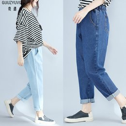 Women's Clothing Guuzyuviz Autumn Winter Plus Size Jeans Woman Vintage Casual Print Hole Ripped Washed Cotton Denim High Wasit Pants Mujer Great Varieties Bottoms