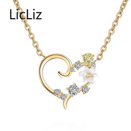 $enCountryForm.capitalKeyWord Australia - LicLiz 925 Sterling Silver Zirconia Pendant Necklaces for Women Heart Shape Pendants Jewelry Colgantes Mujer Moda Cadenas LN0400 Y1892806