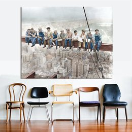 figures Australia - Figure Painting The Empire State Building Build Labourer Home Decor Wall Pictures For Living Room Canvas Art No Frame
