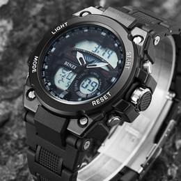 Digital Analog Sports Watches NZ - BINZI Brand Men Sports Watches Dual Display Analog Digital LED Electronic Quartz Wristwatches Waterproof Swimming Watch