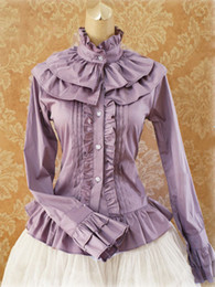lolita blouses Australia - Sweet Cotton Lolita Blouse Long Sleeves Ruffles Stand Collar