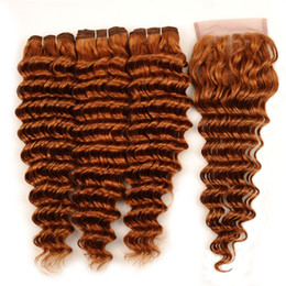 $enCountryForm.capitalKeyWord Australia - Deep Wave Human Hair Weaves Auburn Peruvian Virgin Hair 3 Bundles With 4x4 Middle Part Lace Closure Deep Curly Wavy Hair