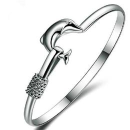 wholesale fashion friendship bracelets 2019 - Hot Sell Bangle Xmas Gift Silver Plate Charm Bangle Fine Noble Mesh Dolphin Bracelet Fashion Jewelry Friendship Bracelet