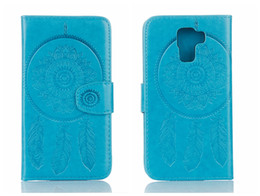 Funda con tapa para HUAWEI honor 7 Funda de lujo en relieve de cuero en relieve Dreamcatcher Peacock For honor 7 Funda con tapa
