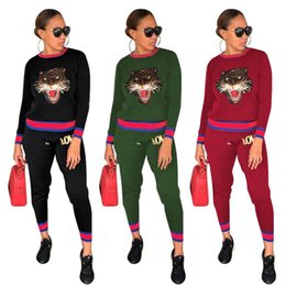 $enCountryForm.capitalKeyWord Canada - Fall Women Animal Print Jogger Sport Suit Tracksuits Pullovers Sweatshirts Casual Sportwear Long Sleeve Tops Pants Set