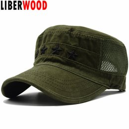 50bb97ceca8 LIBERWOOD 4 Stars Officer Rank Embroidered Mesh Cotton Cap Four Stars Army  Flat Top Hat Summer Men Caps OD green