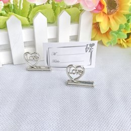 animal place card holders wedding NZ - (18pcs lot)FREE SHIPPING+Silver Love Place Card Holder Table Centerpiece Name Holders Wedding Favors Party Decorations Favor