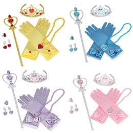 Girls plastic jewelry sets online shopping - Princess Hair Accessories Crown Magic Stick necklace gloves earring Ring set baby girls Halloween Cosplay princess Jewelry Sets C4685
