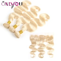 Russian blonde haiR bundles online shopping - Brazilian Virgin Body Wave Blonde Human Hair Bundles with Frontal Top Lace Lace Frontal and Bundles Remy Human Hair Vendors