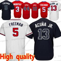 Atlanta Braves 13 Ronald Acuna Jr Jersey 5 Freddie Freeman 3 Dale Murphy 7  Dansby Swanson 44 Hank Aaron 10 Chipper Jones Jerseys Top quality 06330fcde