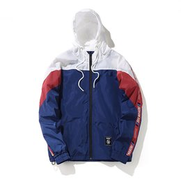 Wholesale hooded block for sale - Group buy Men Cool Patchwork Color Block Windbreaker Hooded Jackets Men Hip Hop Full Zip Up Pullover Tracksuit Jacket Fashion Streetwear for Male