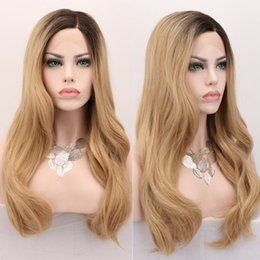 Discount black honey blonde ombre - 150 Density Ombre Honey Blonde Color 1B 27 Glueless Front Lace Synthetic Hair Wigs Natural Wavy Lace Front Wig For Black