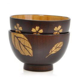 China 11*7CM Japanese Style Sakura Leaves Wood Bowl Delicate Noodle Bowl Zizyphus Jujube Wood Soup bowl Nice Lover Tableware Free Ship cheap jujube wood suppliers
