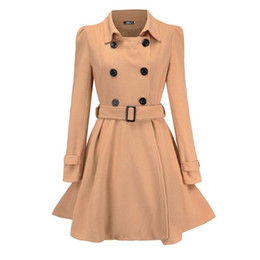 Wholesale women autumn winter trench coat outerwear resale online - Women s Autumn Winter Long Trench Overcoat Hot Fashion Solid Double breasted Belt Slim Fit Wool Blend Coat Outerwear