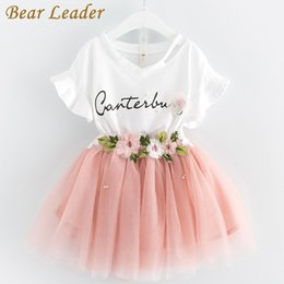 7d01fd7b4b92 Bear Leader Girls Clothing Sets 2017 irls Clothes Butterfly Sleeve Letter  T-shirt+Floral Volie Skirts 2Pcs for Dress Gril
