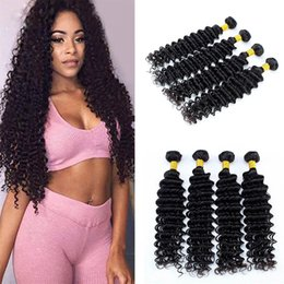 unprocessed human hair wet curly 2019 - 8A Brazilian Deep Wave 4 Bundles Unprocessed Virgin Curly Hair Weave Remy Wet and Wavy Human Hair Extensions Wefts Deals