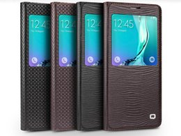 Chinese  High quality case with lizard pattern and grid pattern,flip cover smart case for Samsung Galaxy S6 edge plus manufacturers