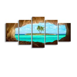 definition painting Canada - 5 pieces high-definition print Caribbean island canvas painting poster and wall art living room picture HaiD-006