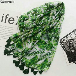 Cotton Scarves Chevron NZ - Guttavalli Women Spring Fresh Green Monstera Big Leaf Tassels Long Shawl Female Flowers Print Wraps Chevron Sunscreen Scarves