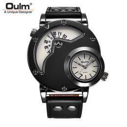 $enCountryForm.capitalKeyWord Australia - Oulm Sport Watches Two Time Zone Male Clock Casual PU Leather Wristwatch for Man Unique Style Multiple Time Zone Watch New Hours