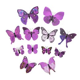pvc beds 2019 - 12PCS 3D Wall Sticker butterflies Stickers for Home Living Room Kids Bed Room Decoration PVC DIY poster wall Sticker dis