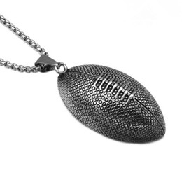 sports slides UK - Rugby Pendant Necklace Gold Plated Stainless Steel American Football Pendant 60cm Chain Unisex Accessories Sports Jewelry