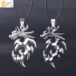 Biker necklaces online shopping - CSJA New Dragon Necklace Pendant Totem Animal Jewelry Men Silver Biker Necklaces Statement Pendants Charms Gift Drop S199