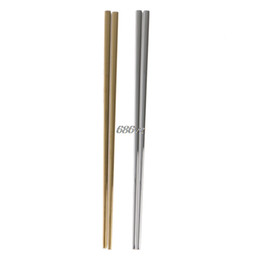 $enCountryForm.capitalKeyWord UK - Chinese Chopsticks Stainless Steel Reusable Cutlery Square Shape 1 Pair N27 Drop Ship