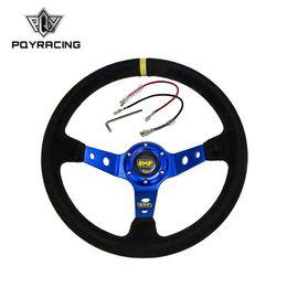 Опт PQY RACING - синий рулевое колесо ID=14 дюймов 350 мм OMP глубокий кукуруза дрейфующих рулевое колесо / замша рулевые колеса PQY-SW21B