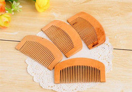 Wholesale 20pcs Pocket Wooden Comb Natural Super Anti static Beard Comb Hair Styling Tool Health Care Peach Massage Combs X090