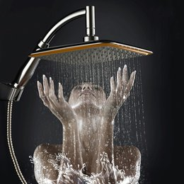 """$enCountryForm.capitalKeyWord Australia - Wholesale-new arrival Chrome Finished Wall Mounted Brass Shower Arm + Ultrathin Square 9"""" Shower Head + 2 Conversion of rod"""