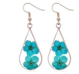 roses dried flowers 2018 - Handmade Epoxy Drops Dried Flower Earrings Resin Rose Gold Girls Earrings Literary Diy Plant Dried Flower Earrings cheap