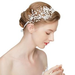 Wholesale Crystal Imitation pearl Bridal hair band Silver Wedding Headbands Exquisite headwear Wedding hair accessories Bridal Headwrap