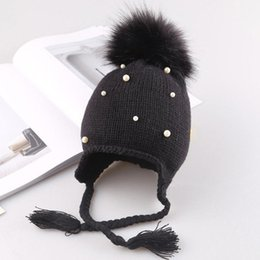Knitted Hair Hat NZ - Ball Beanie Warm Earmuffs Knitted Unisex Black Hat Winter Pink Light Gray Cute Autumn Hair Children Cap