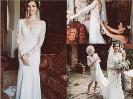 Modest Wedding Dress Sheath Lace Australia - Modest Long Sleeves sheath Wedding Dresses 2019 Sexy Deep V Neck Bridal Gowns Lace Appliqued Court Train African Wedding Dress