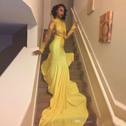 mermaid tail dresses sleeves NZ - FADISTEE New arrival lace evening dresses prom party fomal long sleeves sexy Yellow Modern mermaid style long tail