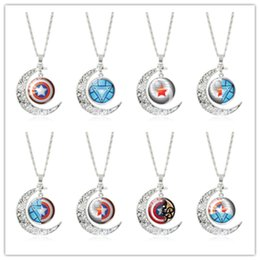 superhero glasses 2019 - Superhero Time Gem necklace Silver half moon with colorful art photo pendant necklace Creative gift for super hero fans