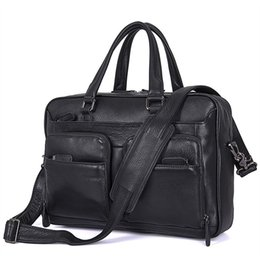 Discount male laptop bags - Nesitu High Quality Black Genuine Leather 14'' Laptop Men Briefcase Portfolios Male Messenger Bag Business Tra