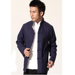 bad64d8a946 Navy Blue Beige Novelty Reversible Chinese Men Jacket Cotton Linen Kung Fu  Coat Two Side Outwear M L XL XXL XXXL MN20