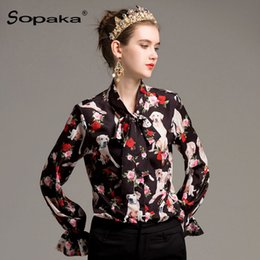 742f98e1b5090 plus size blouse designs 2019 - 2018 Spring High Quality Design Shirt Black  Animal Floral Dog