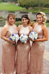 country wedding dresses halter 2019 - 2018 Rose Gold Plus Size Arabic Sparkly Bridesmaid Dresses Halter Neck Sleeveless Sequins Sheath Floor Length Country We