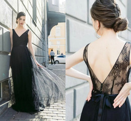 elegant sexy dinner dresses 2019 - Elegant Black Prom Dresses V Neck Open Back Lace Tulle Beading A Line Floor Length Formal Evening Gowns Special Occasion
