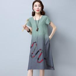 518346c16a 2018 Women Linen Vintage Dress Patchwork Casual Loose Boho Long Maxi Dresses  Plus Size 2XL Large Sizes Dresses