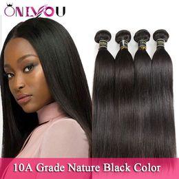Discount promotion brazilian virgin hair - Top Quality Virgin Hair Promotion Brazilian Straight Human Hair Bundles 10A Natural Black Peruvian Malaysian Raw Indian