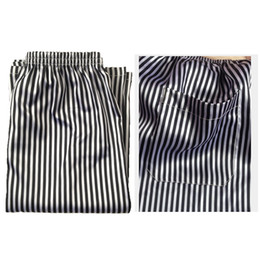 aca6f78cd3 2018 Summer Male Loose Sleepwear Shorts Men's Shorts Striped Silk Stain Pajama  Pants Men Casual Quick-dry Sleep Bottom Plus Size